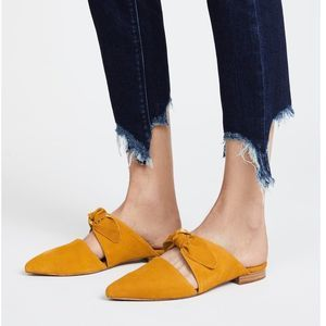 Jeffrey Campbell Charlie suede bow mules mustard